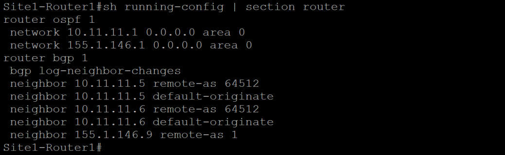 Site 1 Router 1 Config