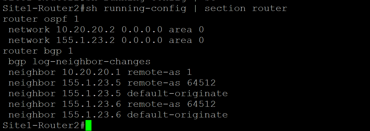 Site 1 Router 2 Config