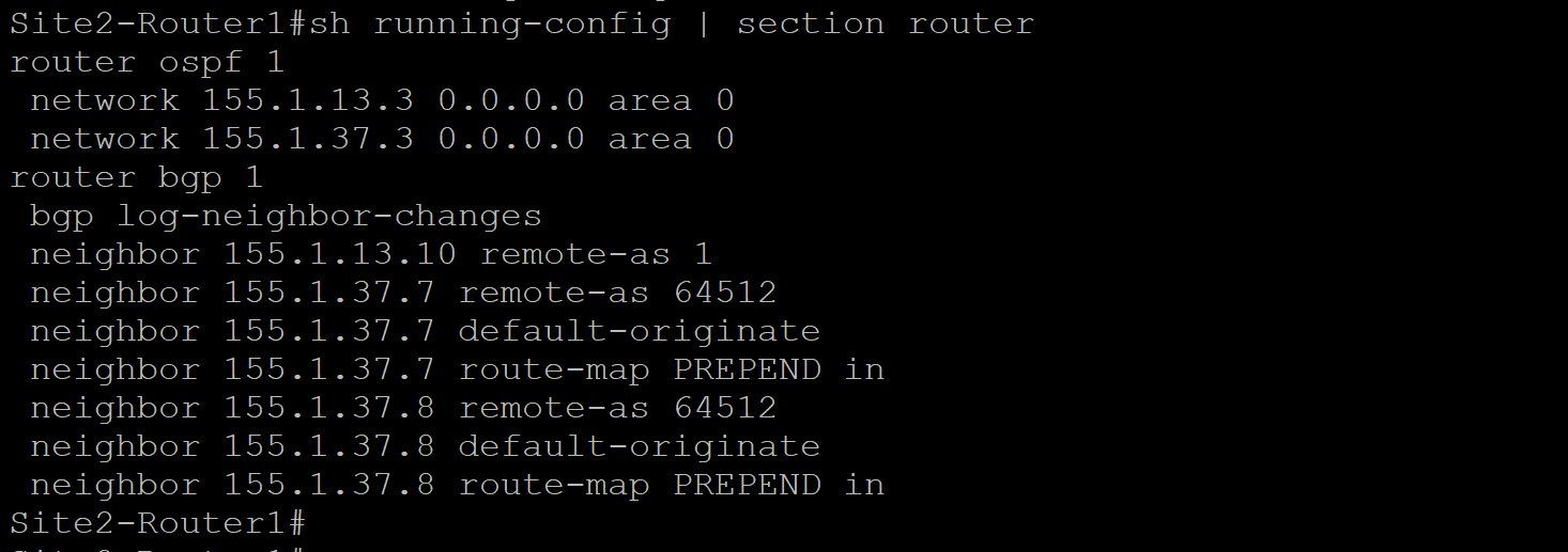Site 2 Router 1 Configuration