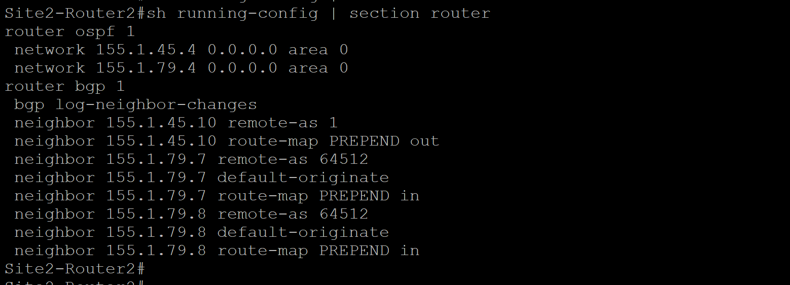 Site 2 Router 2 Configuration